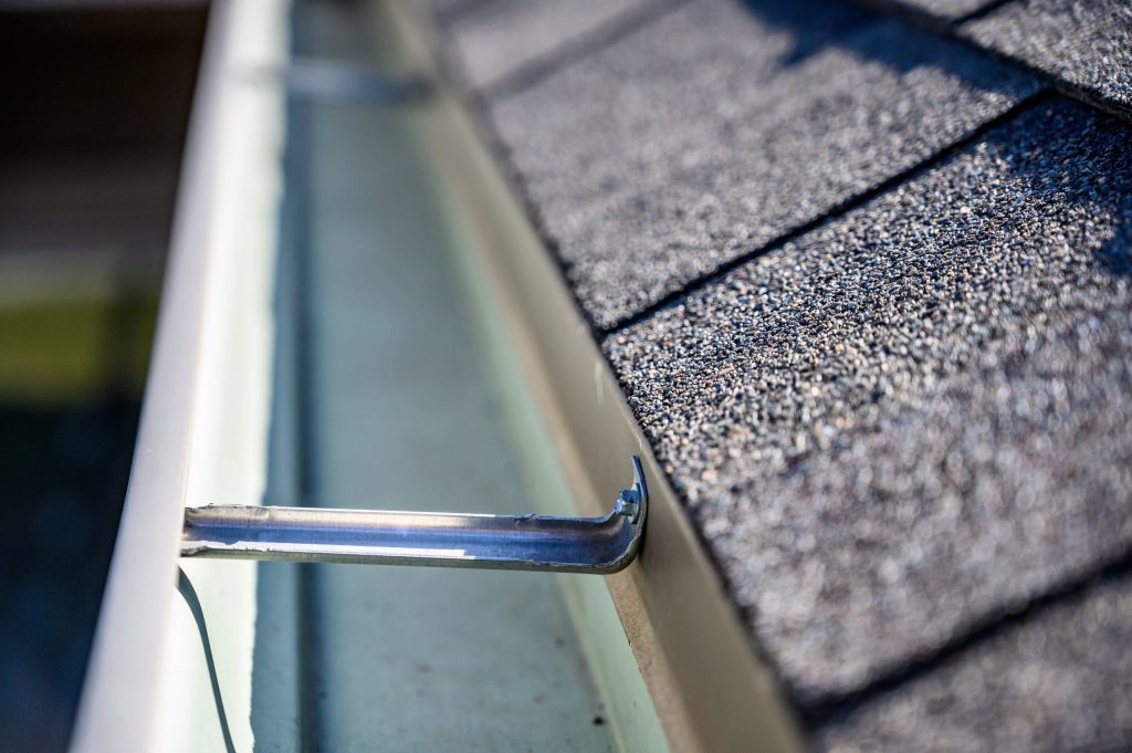 Close up of a clean gutter.