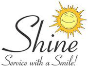 Shine logo with slogan, service with a smile.