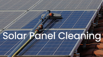 Cleaning solar panel with soft brush and pure water.